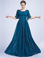 Fiesta formal Vestido - Azul Océano Corte Recto Hasta el Suelo - Escote en V Gasa