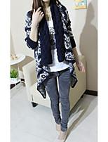 Women's Geometric Blue / White / Black Cardigan , Casual Long Sleeve