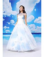 볼 가운 공식적인 저녁 드레스 - 흰색 바닥 길이 보석 오간자 / 새틴