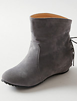 Women's Shoes Wedge Heel Fashion Boots / Round Toe Boots Dress / Casual Black / Pink / Gray