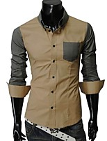 Men's Long Sleeve Shirt , Cotton Blend Casual Pure