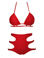 De las mujeres Bikini - Cintura Alta / Color Único Sujetador Acolchado - Halter - Poliéster / Espándex