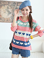 Women's Patchwork Blue / Pink / Orange / Yellow Pullover , Casual / Cute Long Sleeve