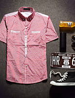 Men's Short Sleeve Shirt , Cotton Casual Plaids & Checks