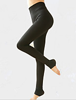 Women Solid Color / Fleece Lined Legging , Polyester / Fleece Thick