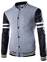 Men's Long Sleeve Jacket , Cotton Blend Casual Striped / Pure