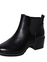 Zapatos de mujer - Tacón Robusto - Puntiagudos / Punta Cerrada - Botas - Oficina y Trabajo / Vestido / Casual - Semicuero - Negro / Marrón