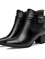 Women's Shoes Leatherette Low Heel Wedges / Fashion Boots Boots Outdoor / Casual Black / Brown / Red