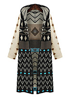 Women's Geometric / Jacquard Black / Almond Cardigan , Casual Long Sleeve
