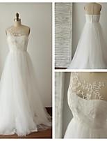 A-line Wedding Dress - Ivory Sweep/Brush Train Jewel Lace / Tulle