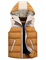 Men's Regular Down Coat , Polyester Pure Sleeveless