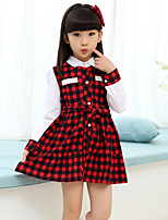 Girl's Fashion Simplicity Long Sleeve Cotton Blend  Stripes Princess Dress