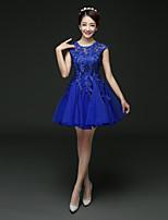 Robe de Demoiselle d'Honneur  - Bleu A-line Col ras du cou Longueur mi cuisse Dentelle