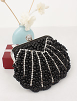 Women Silk / Metal Minaudiere Clutch / Evening Bag / Coin Purse - White / Black