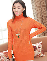 Women's Solid Pink / Red / Black / Orange / Khaki / Beige Pullover , Casual Long Sleeve