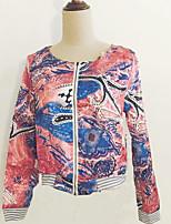 Women's Casual All Match Print Thin Long Sleeve Zipper Jackets