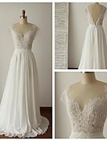 웨딩 드레스 - 아이보리(색상은 모니터에 따라 다를 수 있음) A 라인 스위프/브러쉬 트레인 스쿱 쉬폰 / 레이스