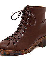 Chaussures Femme - Décontracté - Noir / Marron - Gros Talon - Bout Arrondi - Bottes - Similicuir