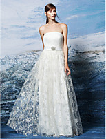 Lanting Bride Sheath / Column Wedding Dress Floor-length Strapless Lace with