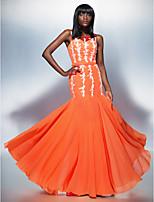저녁 정장파티 드레스 - 오렌지 트럼펫/멀메이드 바닥 길이 스쿱 쉬폰/명주그물