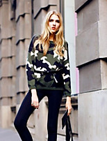 Women's Print Green Casual Long Sleeve