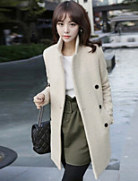 Women's Solid Beige Coat , Casual Long Sleeve Cotton Blends