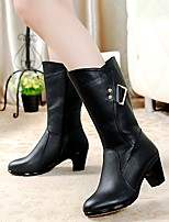 Women's Shoes AmiGirl New Fashion Hot Sale Leather Chunky Heel Fashion Boots Outdoor / Casual Black