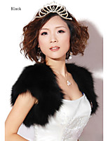 Fur shawl in the spring and autumn winter banquet shawls long hair short sleeve without collar Black vest