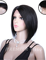 8A Premierwigs 8'' Brazilian Virgin Bob Straight Silk Base Lace Front Human Hair Wigs With Baby Hair For Black Women