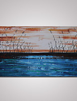 Hand-Painted Abstract Blue Seascape with Waterweed Oil Painting on Canvas Ready to Hang