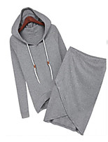 Women's Casual/Daily Simple Spring / Fall Set Skirt Suits,Solid Hooded Long Sleeve Black / Gray Cotton / Others Opaque