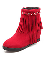 Women's Shoes Leatherette Flat Heel Snow Boots Boots Casual Black / Red