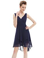 Vestito da damigella - Blu marino scuro Trapezio V Cocktail Chiffon