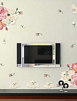 Embroidered Beautiful Flower Wall Decals PVC Decorative Wall Stickers