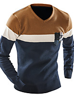 Men's Business Casual Sports Simple Active Regular Pullover,Color Block Patchwork V-neck Long Sleeve Elastic Woven Satin Fall Winter