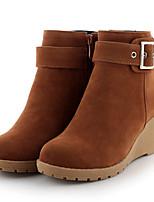 Zapatos de mujer - Tacón Cuña - Cuñas / Botas a la Moda - Botas - Exterior / Casual - Semicuero - Negro / Marrón / Amarillo
