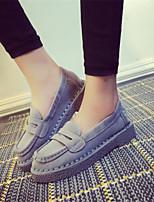 Calçados Femininos - Mocassins - Arrendondado - Rasteiro - Preto / Cinza - Tecido - Casual
