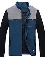 Men's Long Sleeve Jacket , Cotton Blend Casual Striped