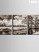 E-HOME® River Fields And Trees Clock in Canvas 3pcs