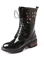 Women's Shoes Patent Leather / Leatherette Low Heel Round Toe / Closed Toe Boots Outdoor Black / Pink / White