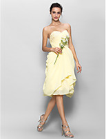 Knee-length Chiffon Bridesmaid Dress - Daffodil A-line Sweetheart