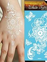 King Horse® Henna India 5sheets  Wedding White Tattoo Stickers  Non Toxic/Wedding /Hawaiian  20.5*10cm Flower