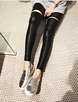 Women Solid Color Legging , Genuine Leather Thin