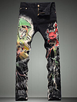 Men's Fashion Skull Printed Jeans Colored Painted Denim Pants