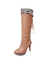 Zapatos de mujer - Tacón Stiletto - Punta Redonda / Punta Cerrada - Botas - Oficina y Trabajo / Vestido / Casual - Semicuero -Negro /