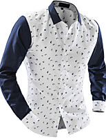 Men's Long Sleeve Shirt , Cotton Casual / Work Print / Pure