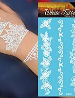 King Horse® Henna White Tattoo Stickers  Non Toxic/Hawaiian/Waterproof Flower Series Paper 5pcs 20.5*10cm