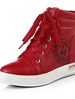 Zapatos de mujer - Tacón Cuña - Punta Redonda - Botas - Casual - Semicuero - Negro / Rojo / Blanco
