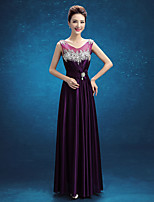 Formal Evening Dress - Regency A-line Scoop Floor-length Stretch Satin