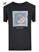 Lesmart Men's Casual Ventilate Cotton Brief Mysterious Planet Pattern Soft Neck Collar Slim Fit T-Shirts